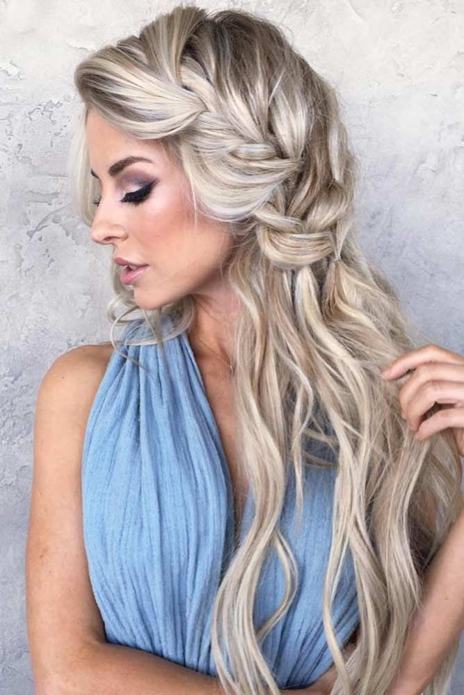 Side Braided-Long-Blonde-Hairstyle