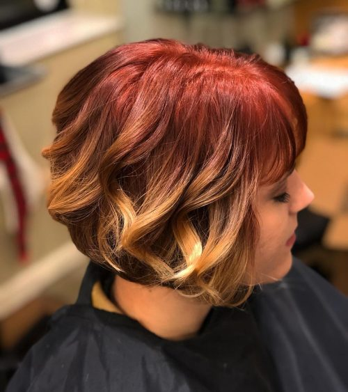 burgundy-to-honey-blonde-ombre-with-bang